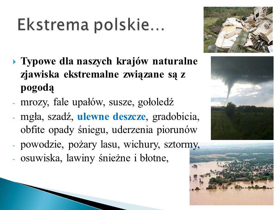 Ekstrema polskie… Typowe dla naszych krajów naturalne zjawiska ekstremalne związane są z pogodą. mrozy, fale upałów, susze, gołoledź.