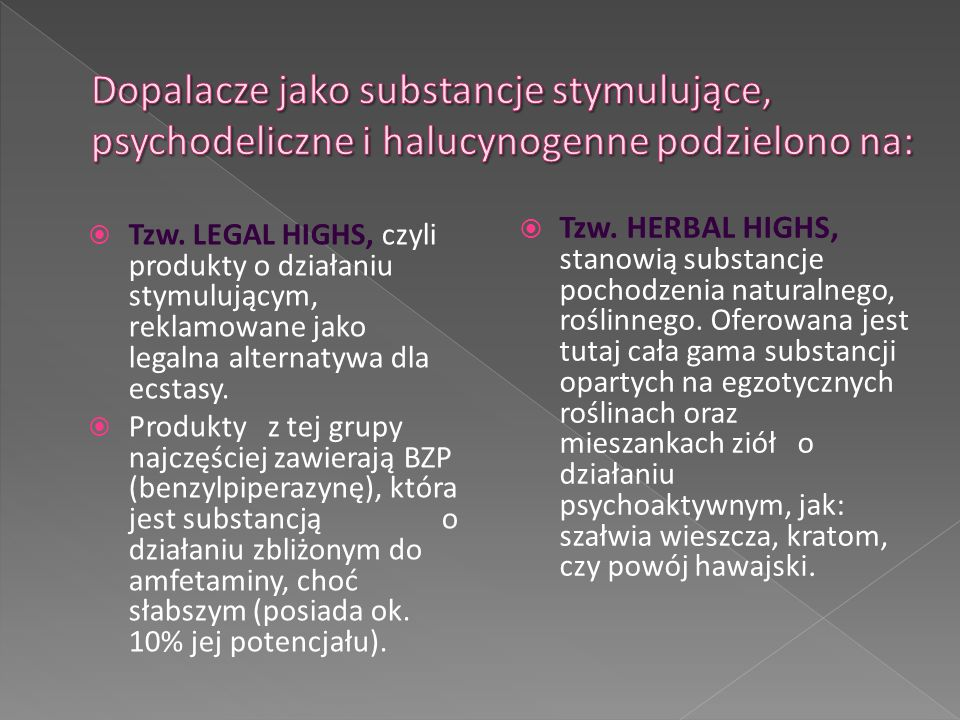 Dopalacze jako substancje stymulujące, psychodeliczne i halucynogenne podzielono na: