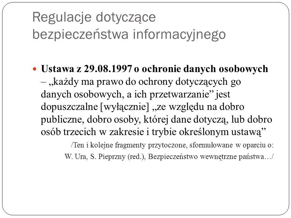 Regulacje dotyczące bezpieczeństwa informacyjnego