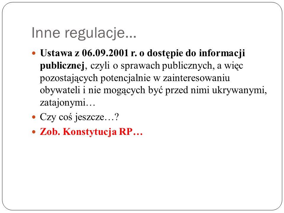 Inne regulacje…