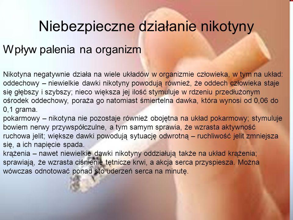 Niebezpieczne działanie nikotyny