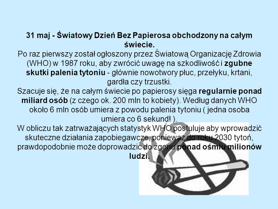 31 maj - Światowy Dzień Bez Papierosa obchodzony na całym świecie