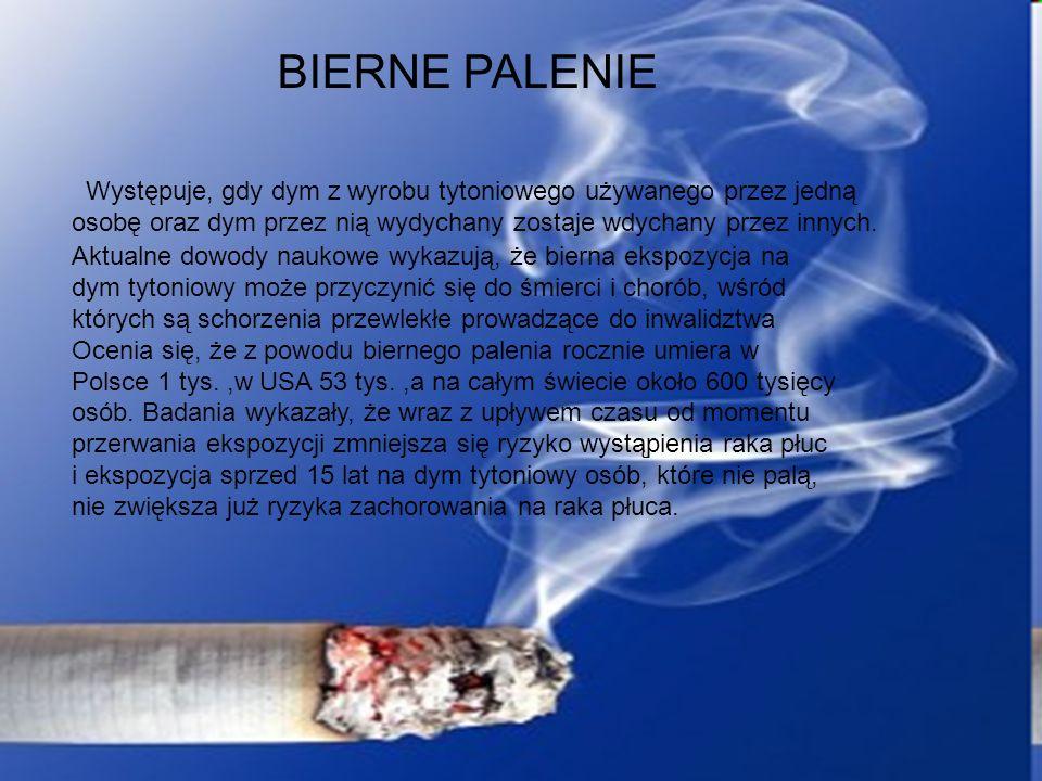 BIERNE PALENIE Występuje, gdy dym z wyrobu tytoniowego używanego przez jedną osobę oraz dym przez nią wydychany zostaje wdychany przez innych.