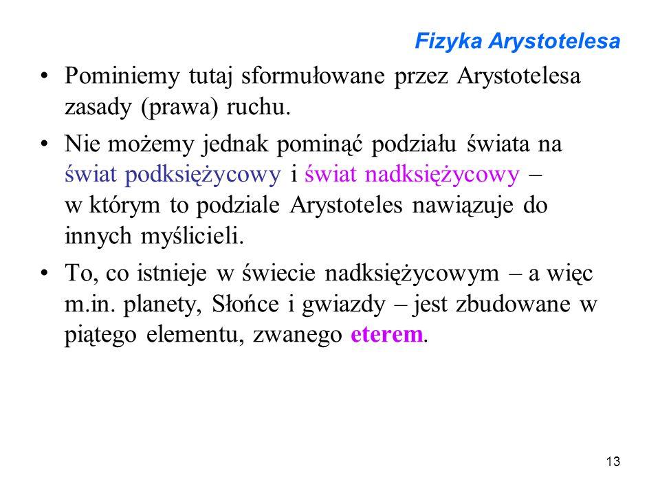 Pominiemy tutaj sformułowane przez Arystotelesa zasady (prawa) ruchu.