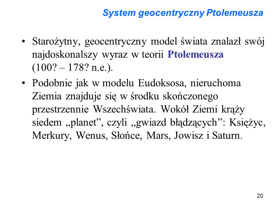 System geocentryczny Ptolemeusza