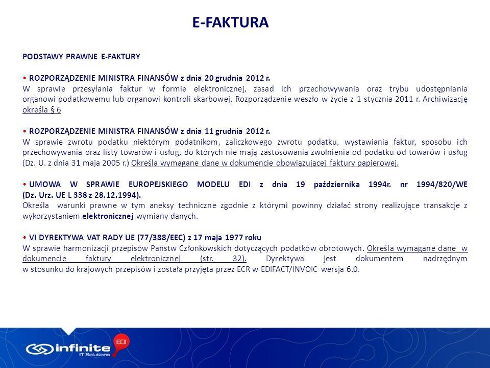 e-Faktura PODSTAWY PRAWNE E-FAKTURY