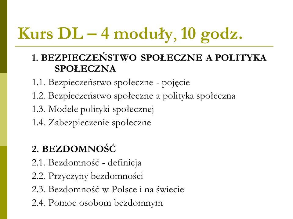 Kurs DL – 4 moduły, 10 godz. 1. BEZPIECZEŃSTWO SPOŁECZNE A POLITYKA SPOŁECZNA. 1.1. Bezpieczeństwo społeczne - pojęcie.