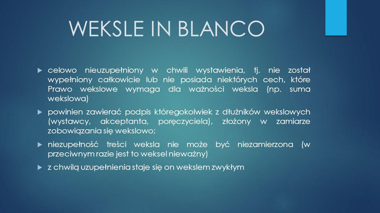 WEKSLE IN BLANCO