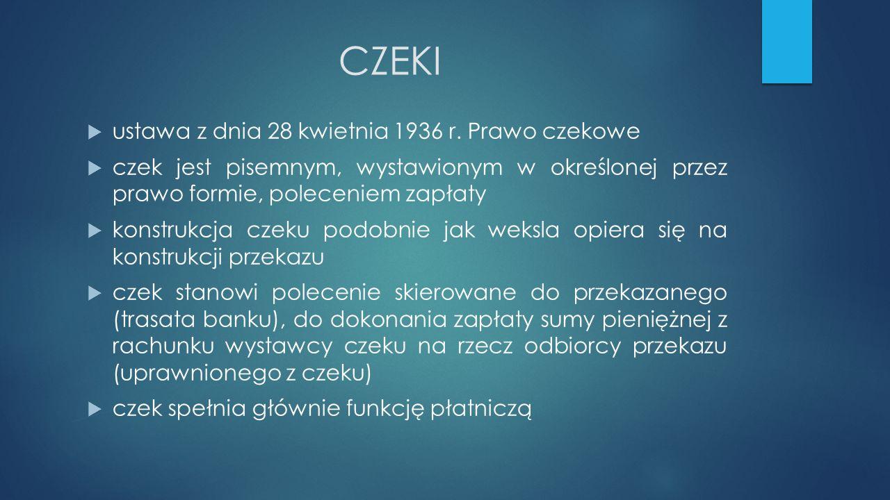 CZEKI ustawa z dnia 28 kwietnia 1936 r. Prawo czekowe
