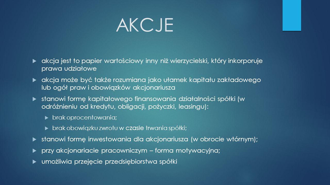 AKCJE akcja jest to papier wartościowy inny niż wierzycielski, który inkorporuje prawa udziałowe.