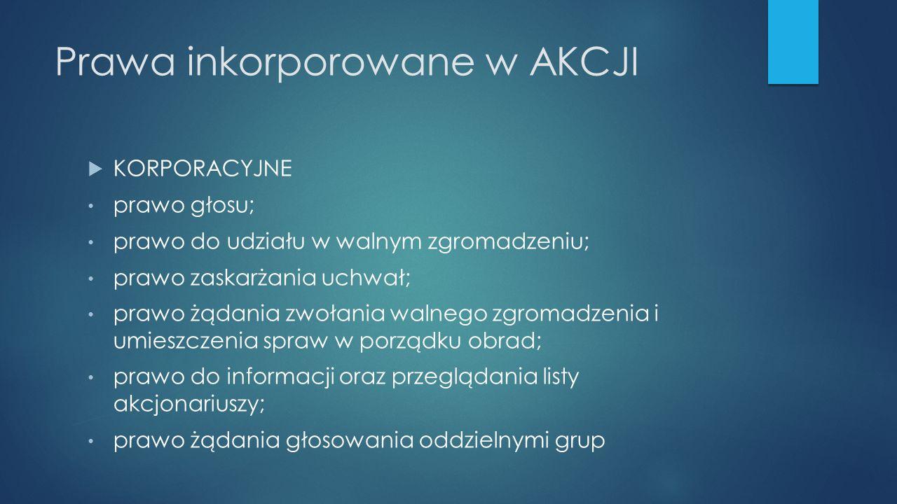 Prawa inkorporowane w AKCJI