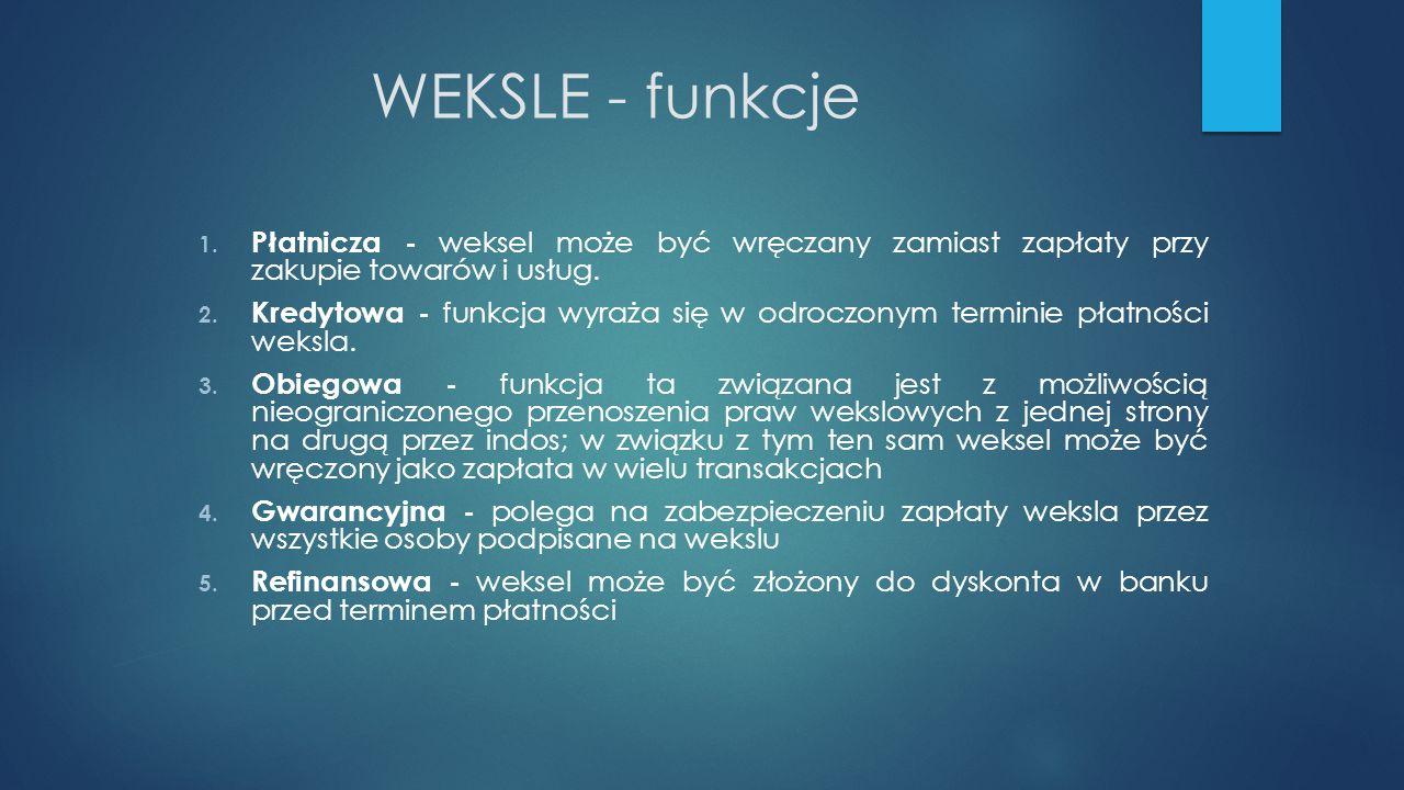 WEKSLE - funkcje Płatnicza - weksel może być wręczany zamiast zapłaty przy zakupie towarów i usług.