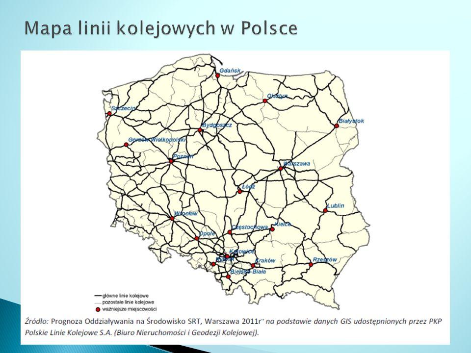 Mapa linii kolejowych w Polsce