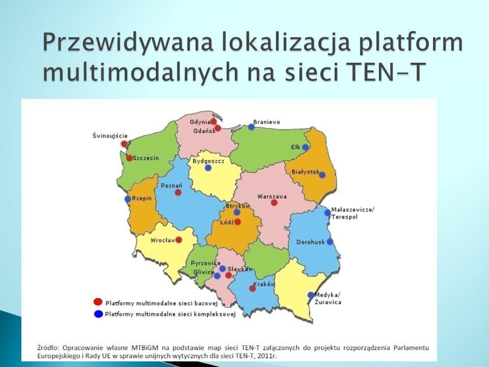 Przewidywana lokalizacja platform multimodalnych na sieci TEN-T