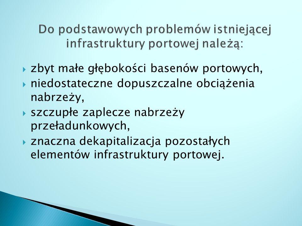 Do podstawowych problemów istniejącej infrastruktury portowej należą: