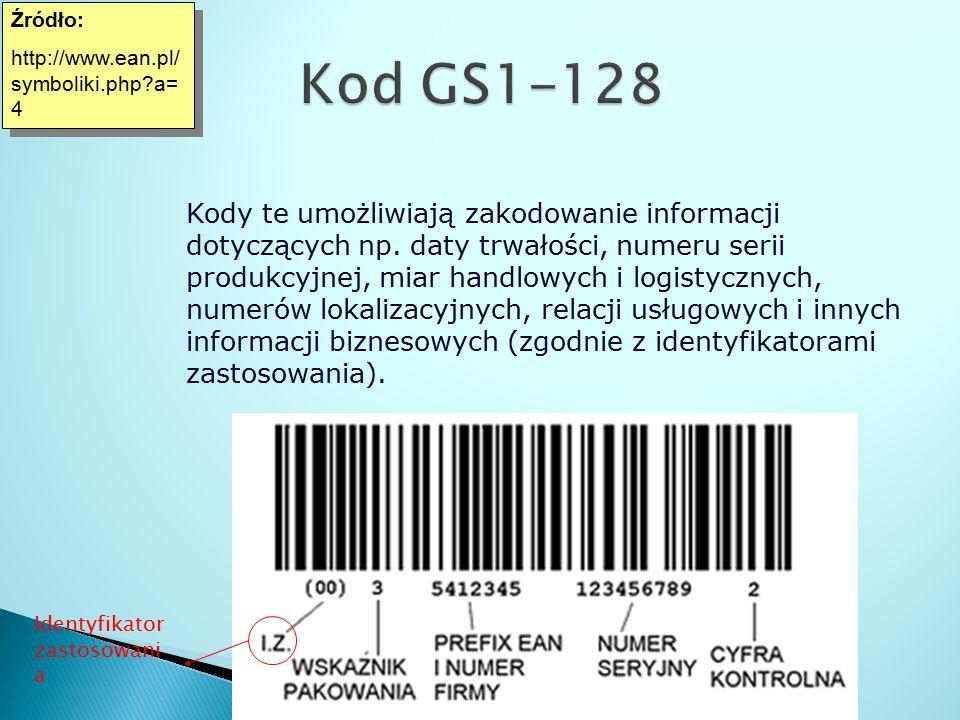 Źródło: http://www.ean.pl/symboliki.php a=4. Kod GS1-128.