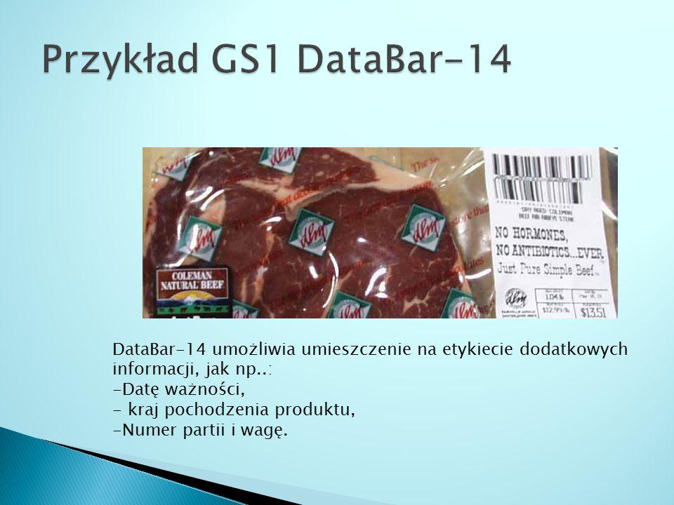 Przykład GS1 DataBar-14 DataBar-14 umożliwia umieszczenie na etykiecie dodatkowych informacji, jak np..: