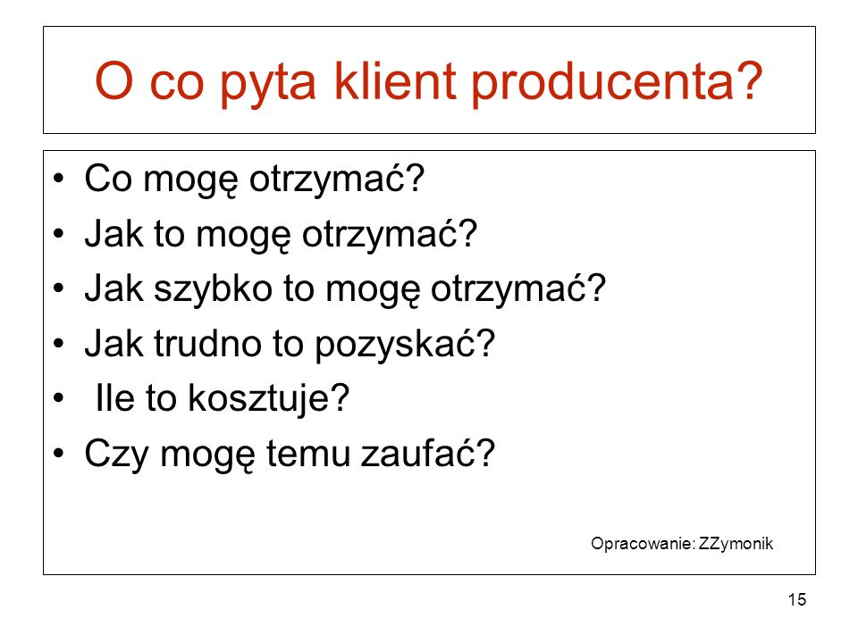 O co pyta klient producenta