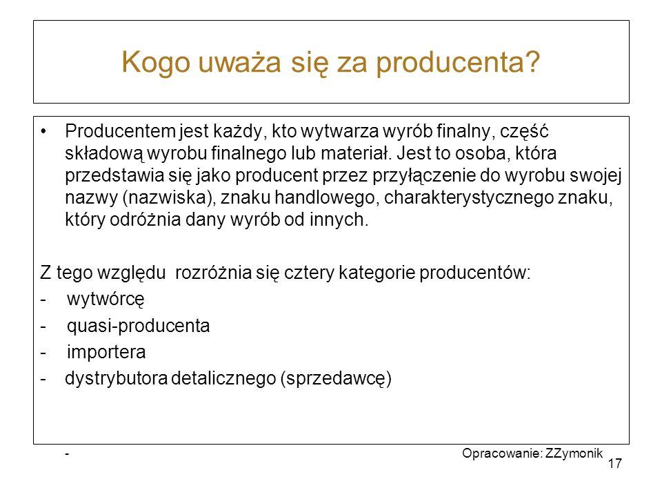 Kogo uważa się za producenta