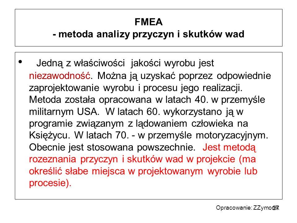 FMEA - metoda analizy przyczyn i skutków wad