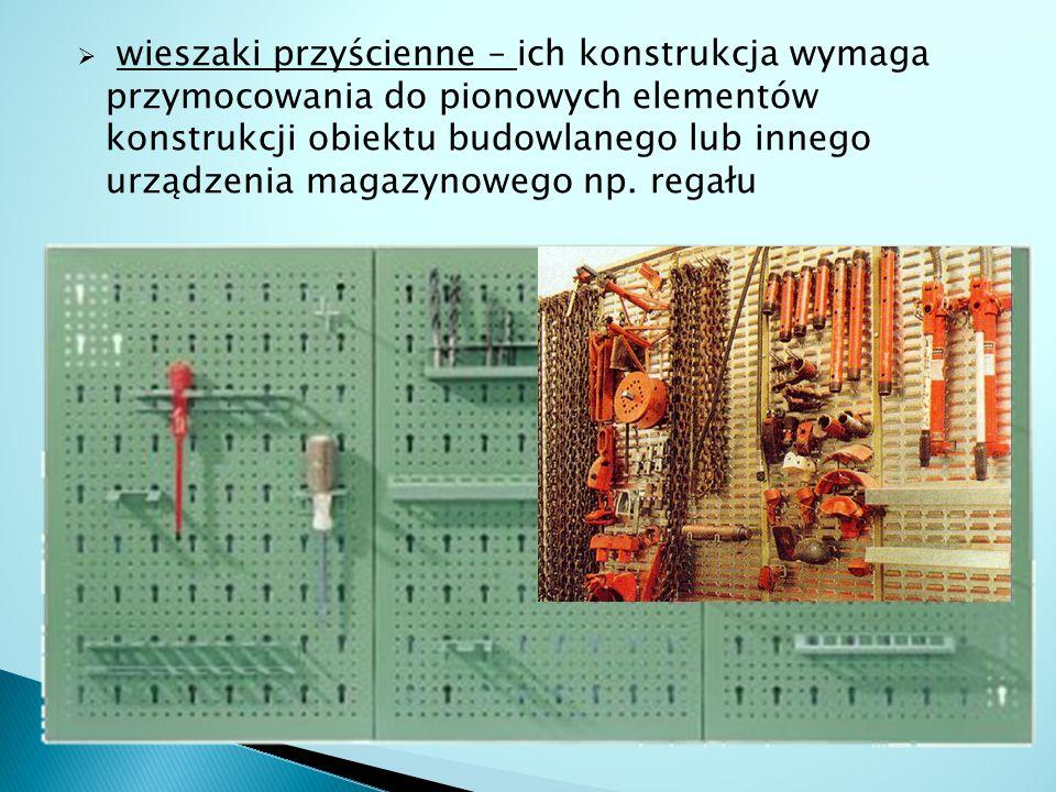 wieszaki przyścienne – ich konstrukcja wymaga przymocowania do pionowych elementów konstrukcji obiektu budowlanego lub innego urządzenia magazynowego np.