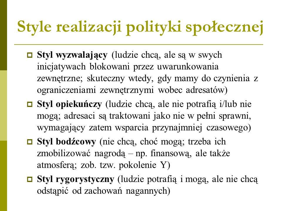Style realizacji polityki społecznej