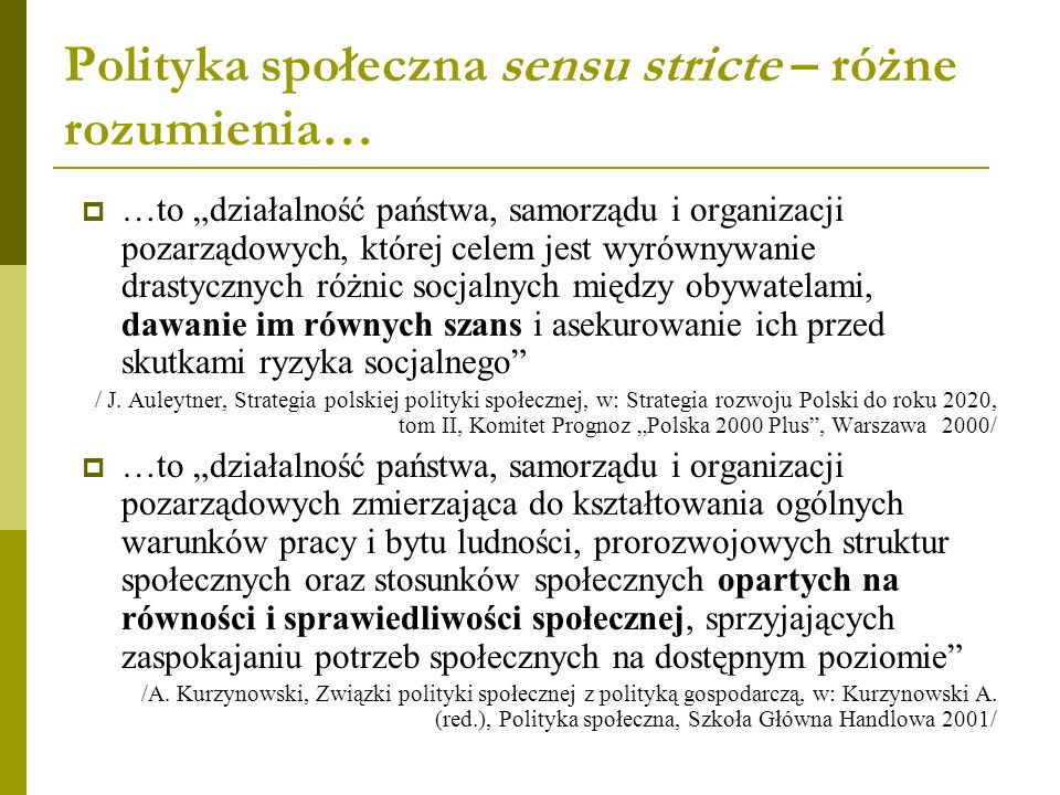 Polityka społeczna sensu stricte – różne rozumienia…
