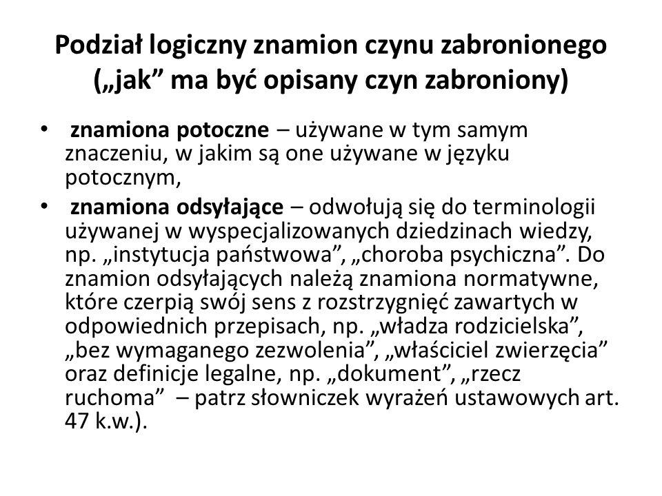 """Podział logiczny znamion czynu zabronionego (""""jak ma być opisany czyn zabroniony)"""