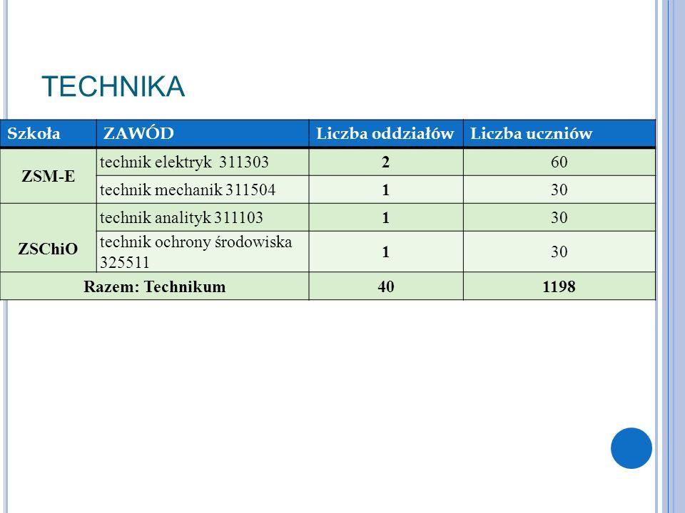 TECHNIKA Szkoła ZAWÓD Liczba oddziałów Liczba uczniów ZSM-E