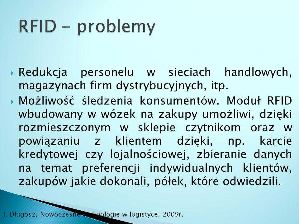 RFID - problemy Redukcja personelu w sieciach handlowych, magazynach firm dystrybucyjnych, itp.