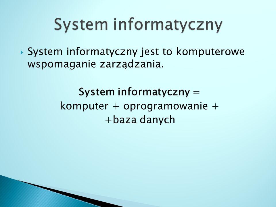 System informatyczny System informatyczny jest to komputerowe wspomaganie zarządzania. System informatyczny =