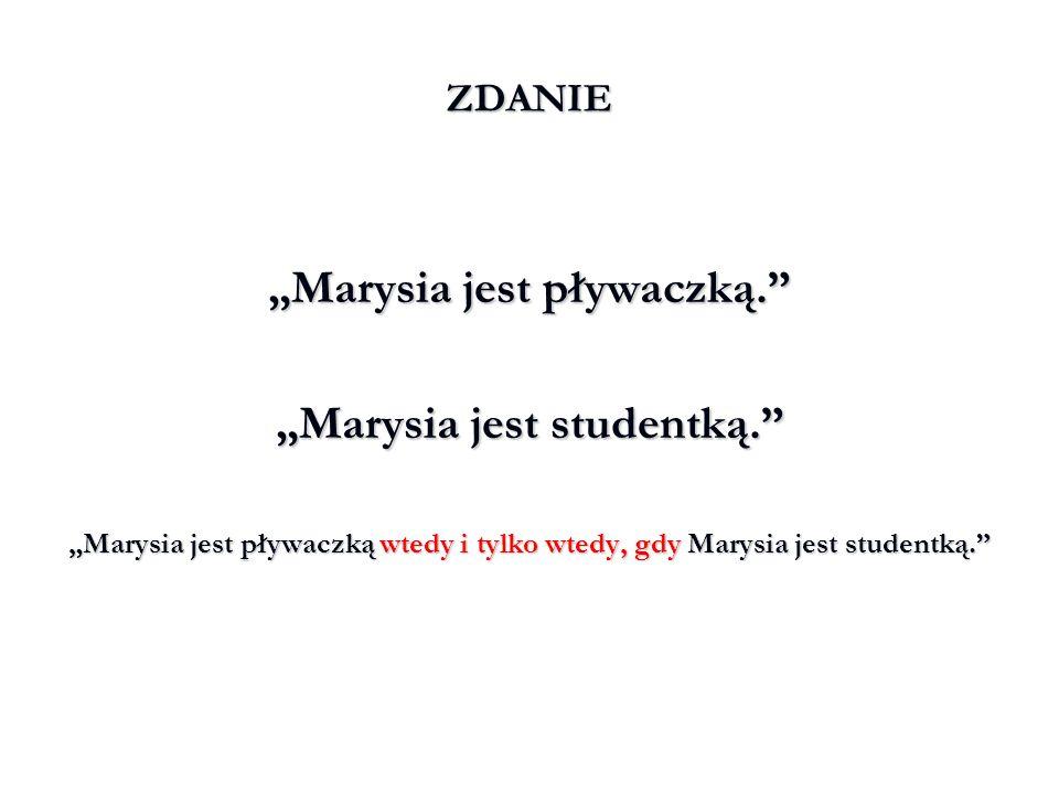 """""""Marysia jest pływaczką. """"Marysia jest studentką."""
