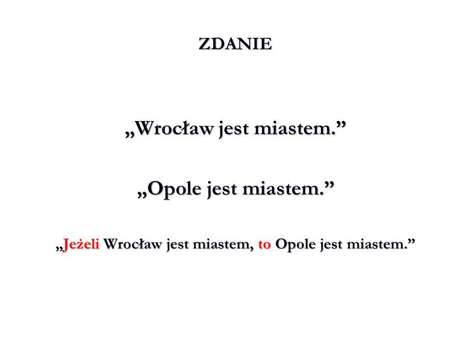 """""""Wrocław jest miastem. """"Opole jest miastem."""
