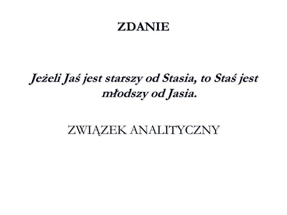 Jeżeli Jaś jest starszy od Stasia, to Staś jest młodszy od Jasia.