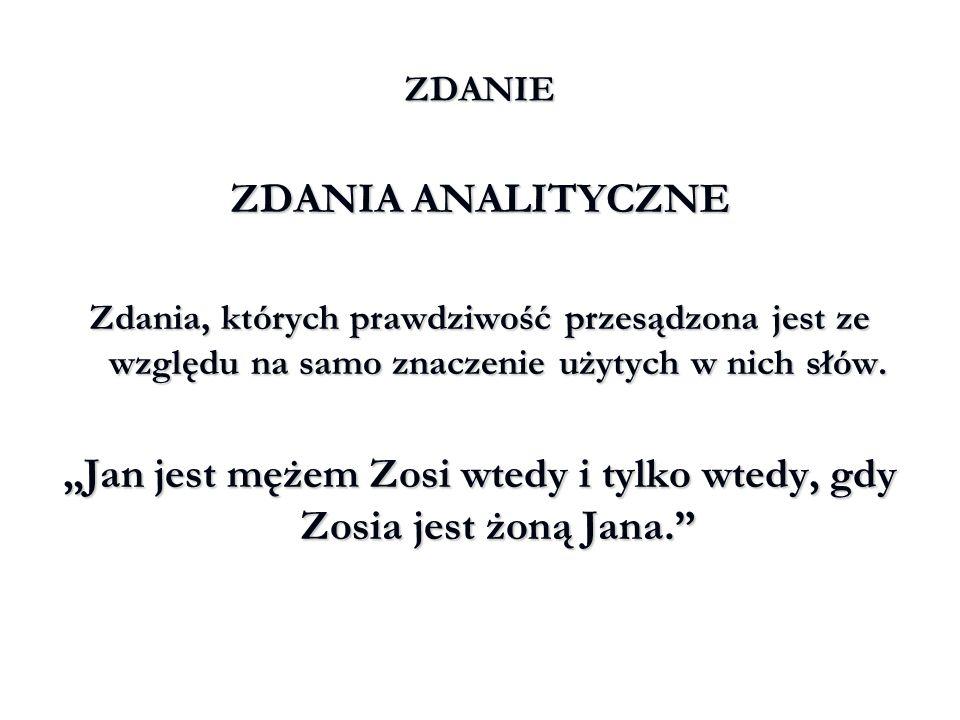 """""""Jan jest mężem Zosi wtedy i tylko wtedy, gdy Zosia jest żoną Jana."""