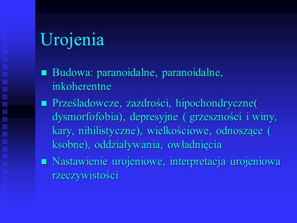 Urojenia Budowa: paranoidalne, paranoidalne, inkoherentne