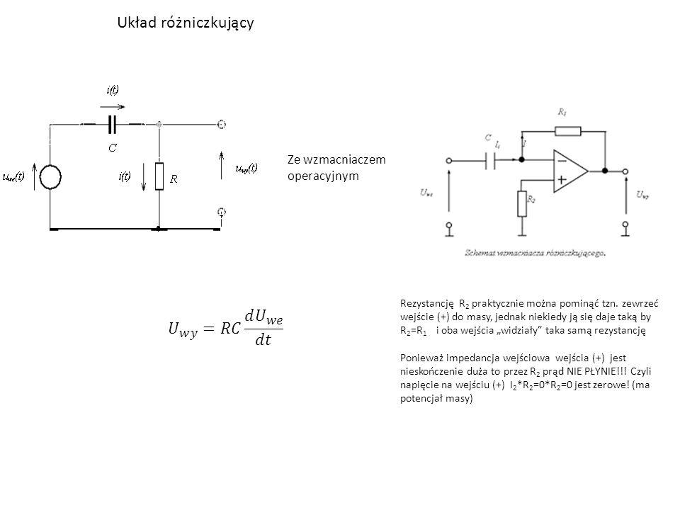 Układ różniczkujący 𝑈 𝑤𝑦 =𝑅𝐶 𝑑 𝑈 𝑤𝑒 𝑑𝑡 Ze wzmacniaczem operacyjnym