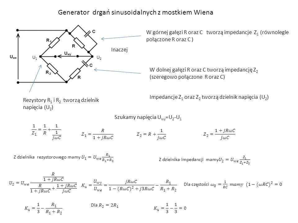 Generator drgań sinusoidalnych z mostkiem Wiena