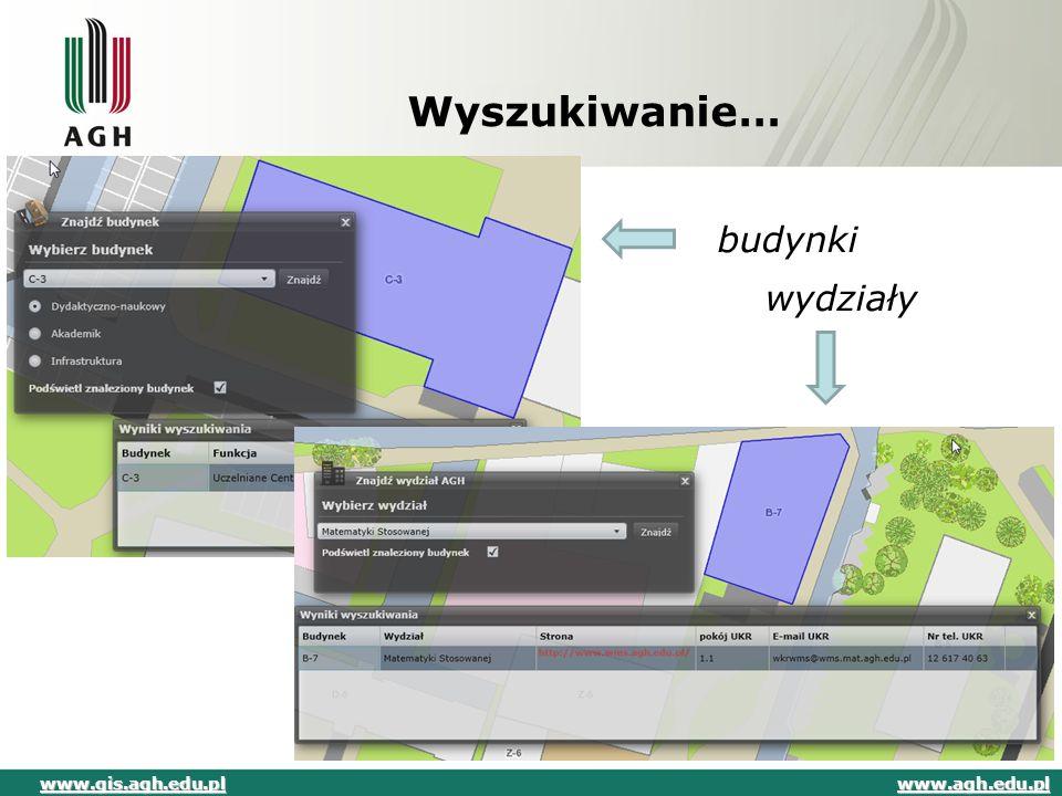 Wyszukiwanie… budynki wydziały www.gis.agh.edu.pl www.agh.edu.pl