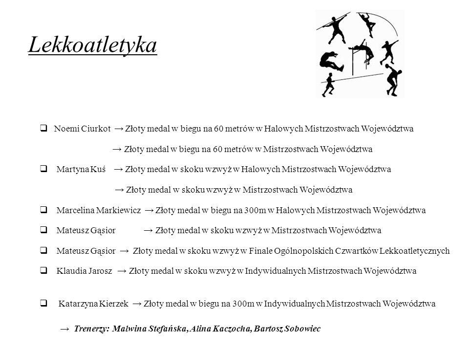 Lekkoatletyka Noemi Ciurkot → Złoty medal w biegu na 60 metrów w Halowych Mistrzostwach Województwa.