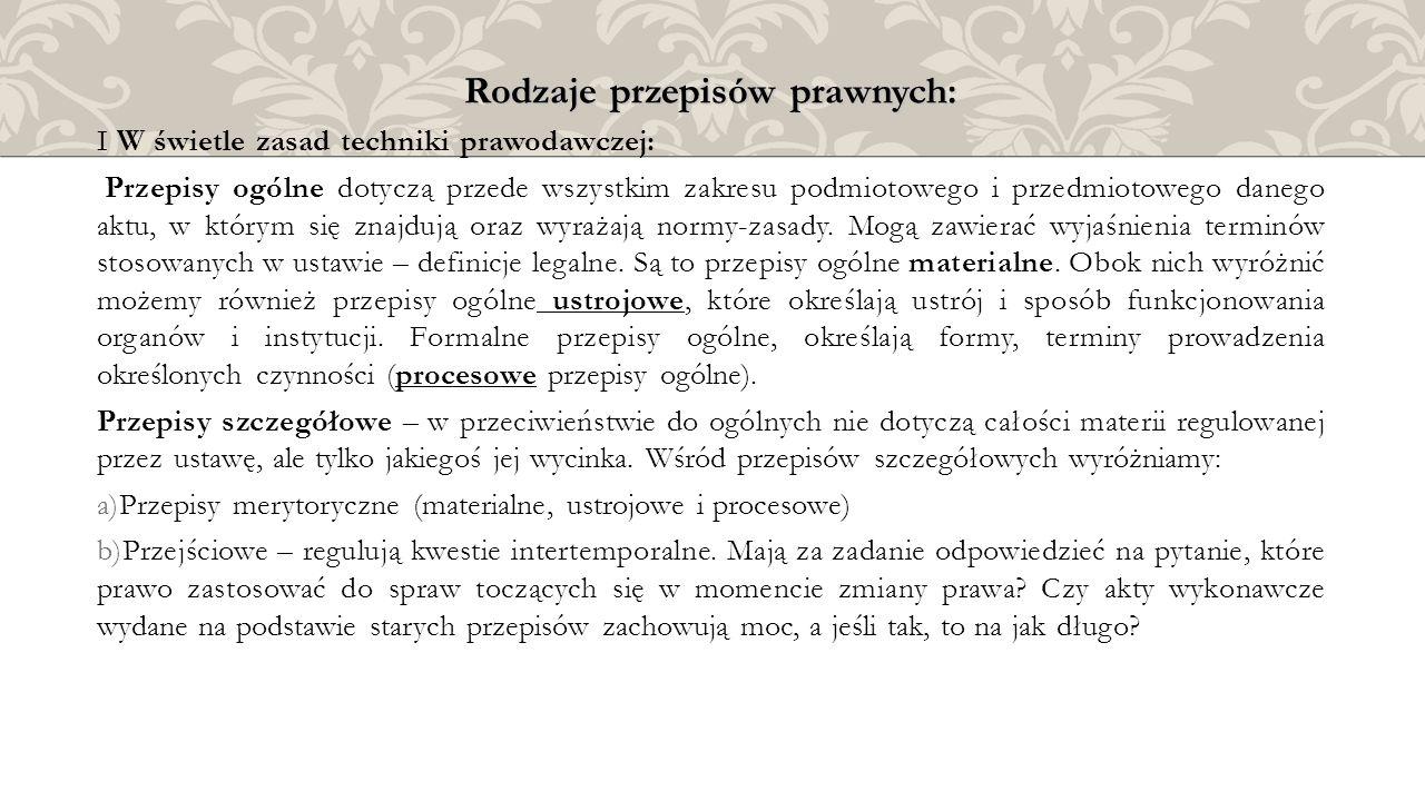 Rodzaje przepisów prawnych: