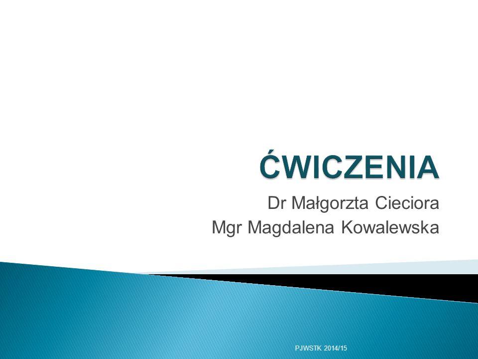 Dr Małgorzta Cieciora Mgr Magdalena Kowalewska