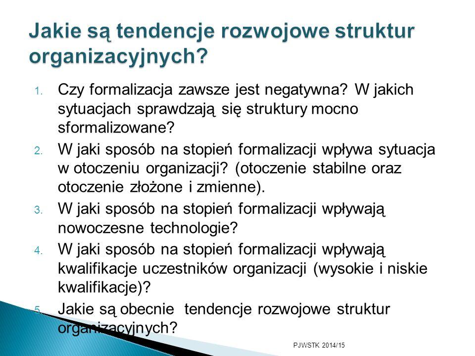 Jakie są tendencje rozwojowe struktur organizacyjnych