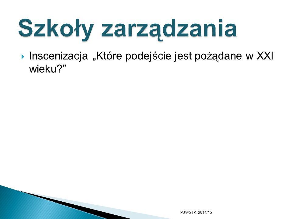 """Szkoły zarządzania Inscenizacja """"Które podejście jest pożądane w XXI wieku PJWSTK 2014/15"""