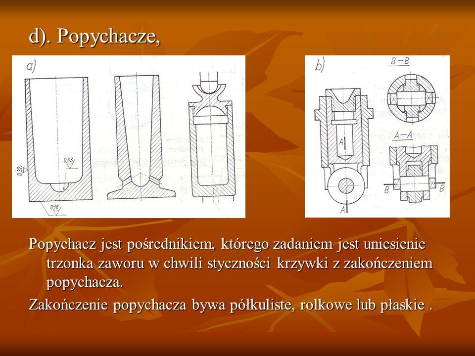d). Popychacze, Popychacz jest pośrednikiem, którego zadaniem jest uniesienie trzonka zaworu w chwili styczności krzywki z zakończeniem popychacza.