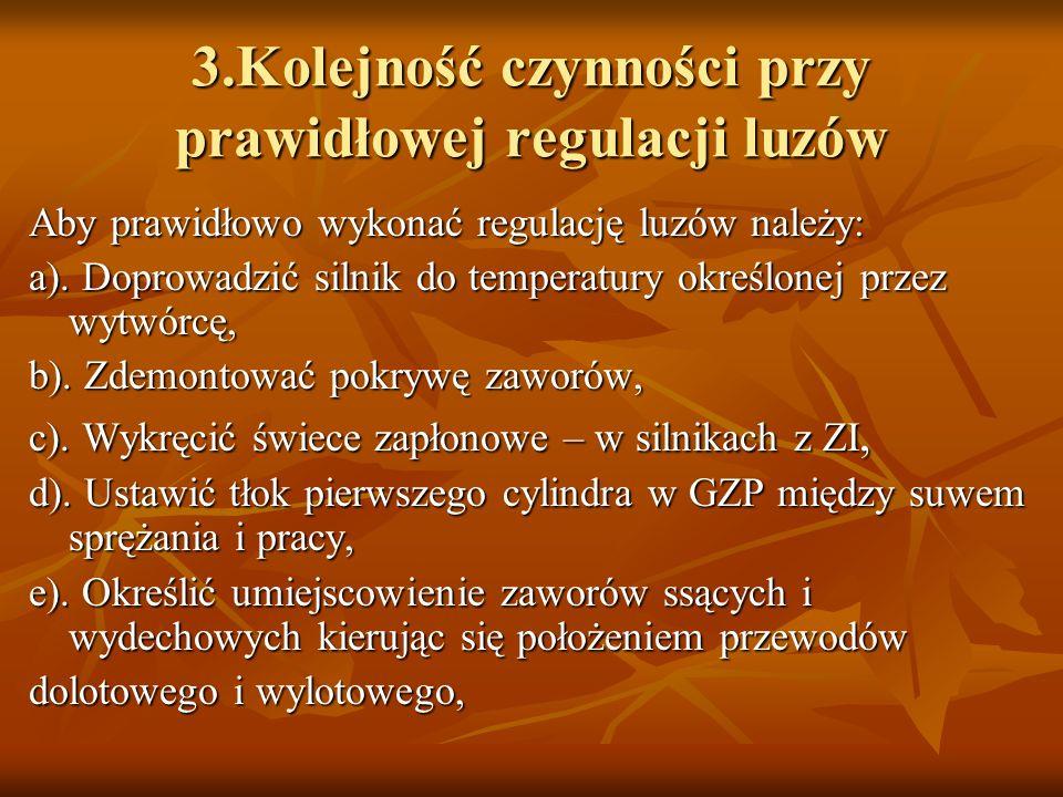 3.Kolejność czynności przy prawidłowej regulacji luzów
