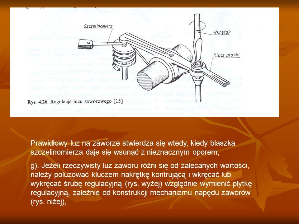Prawidłowy luz na zaworze stwierdza się wtedy, kiedy blaszka szczelinomierza daje się wsunąć z nieznacznym oporem,