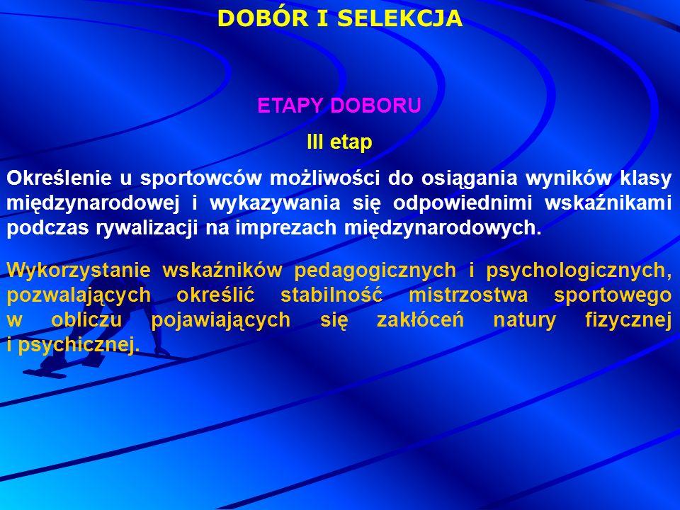 DOBÓR I SELEKCJA ETAPY DOBORU III etap