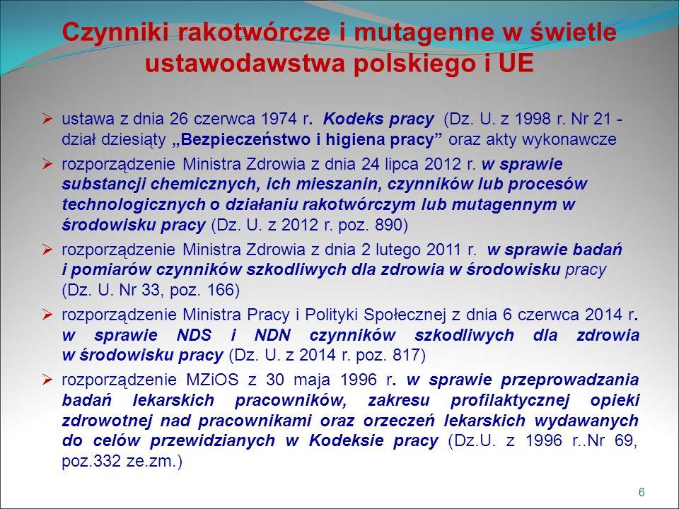 Czynniki rakotwórcze i mutagenne w świetle ustawodawstwa polskiego i UE