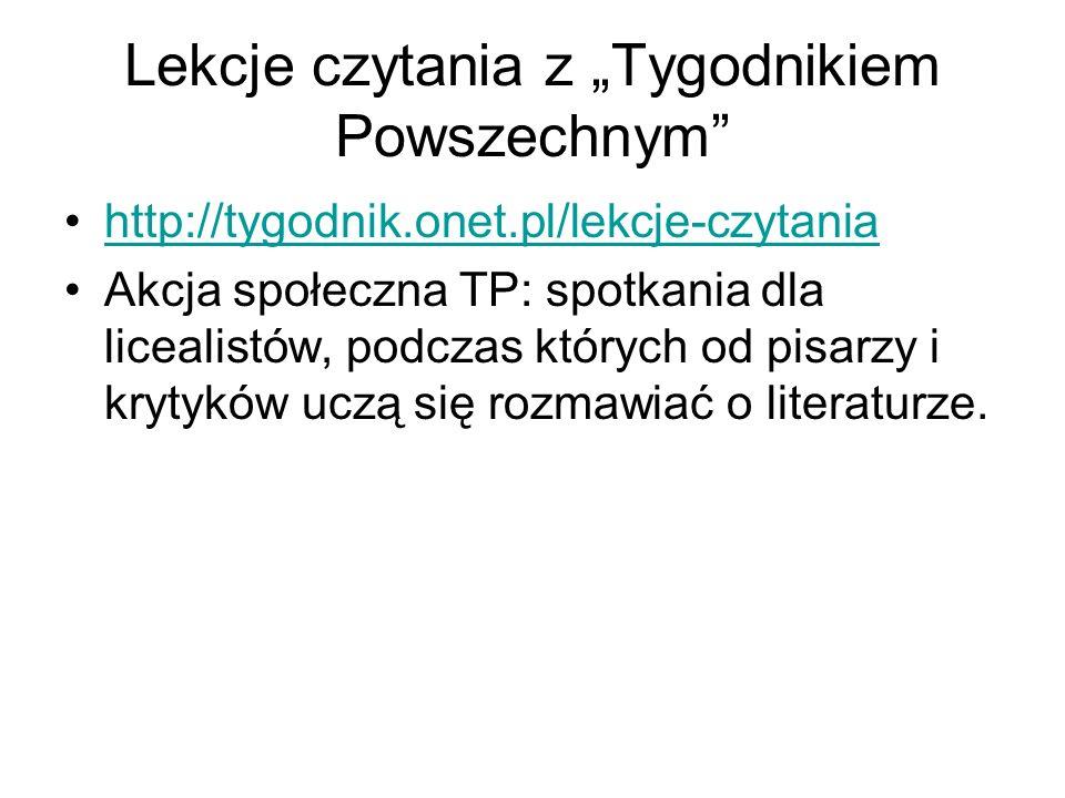 """Lekcje czytania z """"Tygodnikiem Powszechnym"""